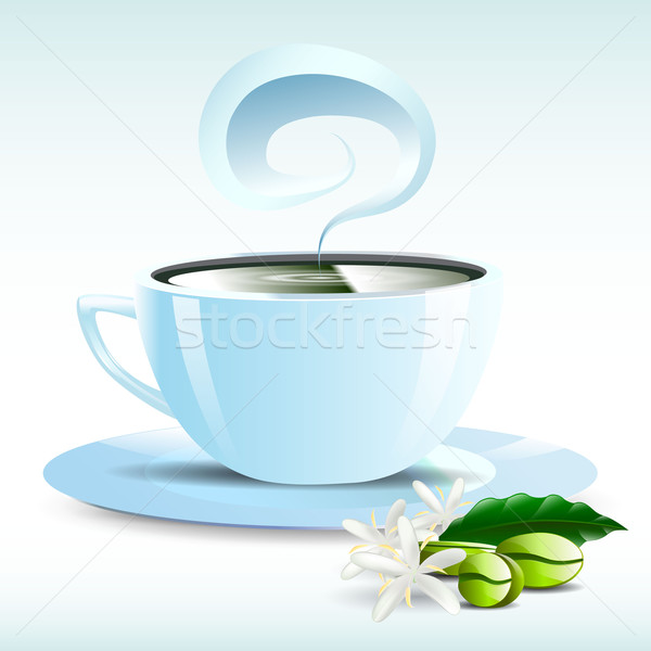 Witte beker hot koffie graan illustratie Stockfoto © mOleks