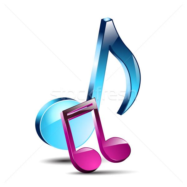 Muziek merkt 3D iconen glans muziek vlinder Stockfoto © mOleks