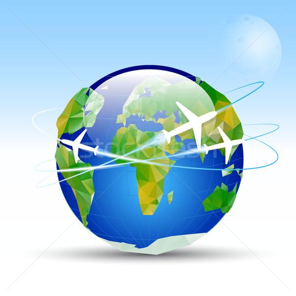 Aarde Blauw rond aarde vliegtuigen vliegen Stockfoto © mOleks