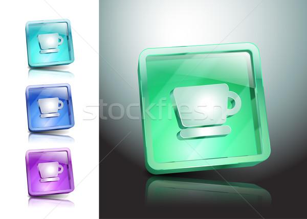 Fincan ikon vektör kahve düğme içmek Stok fotoğraf © mOleks