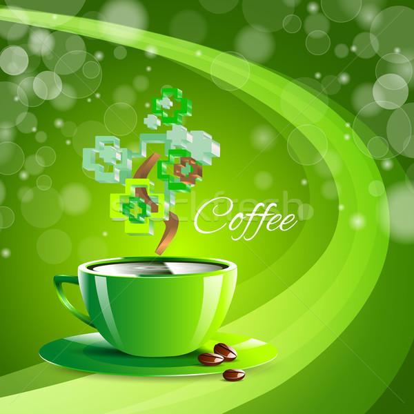Koffie drinken groene beker espresso Stockfoto © mOleks