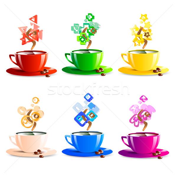 Beker koffie kleur internet ontwerp Stockfoto © mOleks