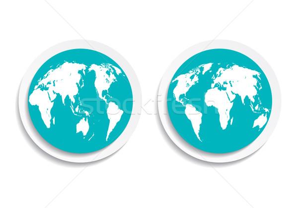 Aarde Blauw icon knop aarde beide Stockfoto © mOleks