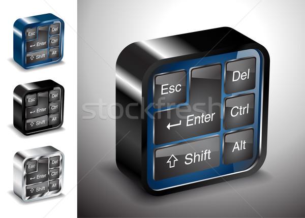 Stock fotó: Számítógépek · elektronika · ikonok · billentyűzet · gomb · berendezés