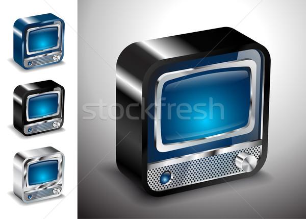 Tv icon knop televisie elektronica ontwerp Stockfoto © mOleks