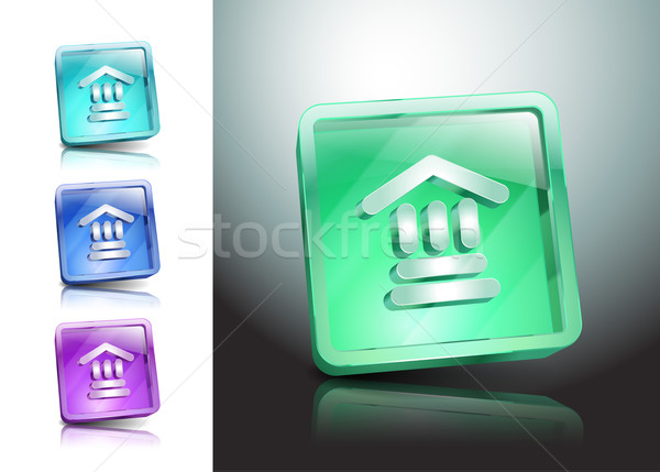 Bank icon glas vector instelling bancaire Stockfoto © mOleks
