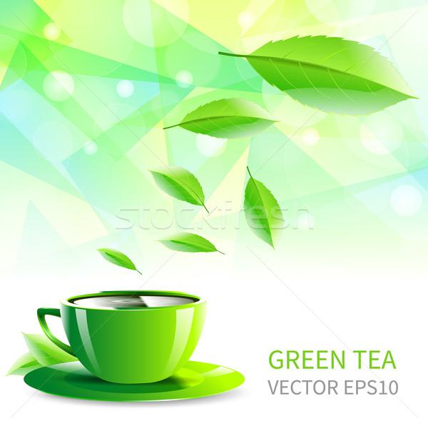 Foto d'archivio: Cup · tè · cadere · foglie · abstract · verde