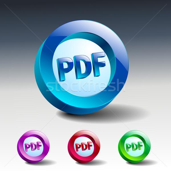 Pdf ícone botão internet documento arquivo Foto stock © mOleks