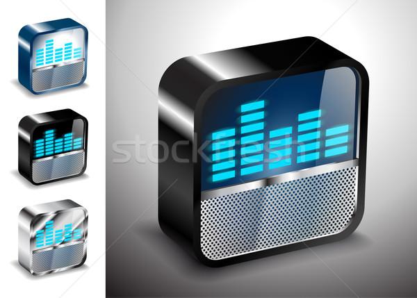 Pulsante icone vettore 3D equalizzatore radio Foto d'archivio © mOleks