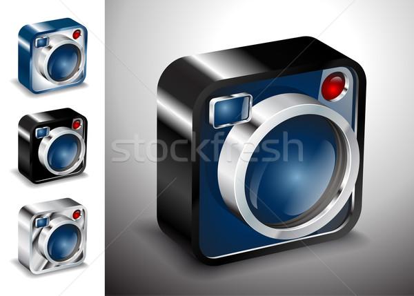 Ikon gomb kamera fotó lencse multimédia Stock fotó © mOleks