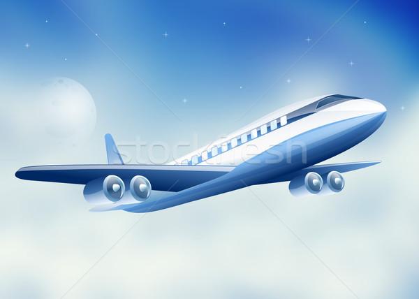 Avião voador alto acima céu lua Foto stock © mOleks