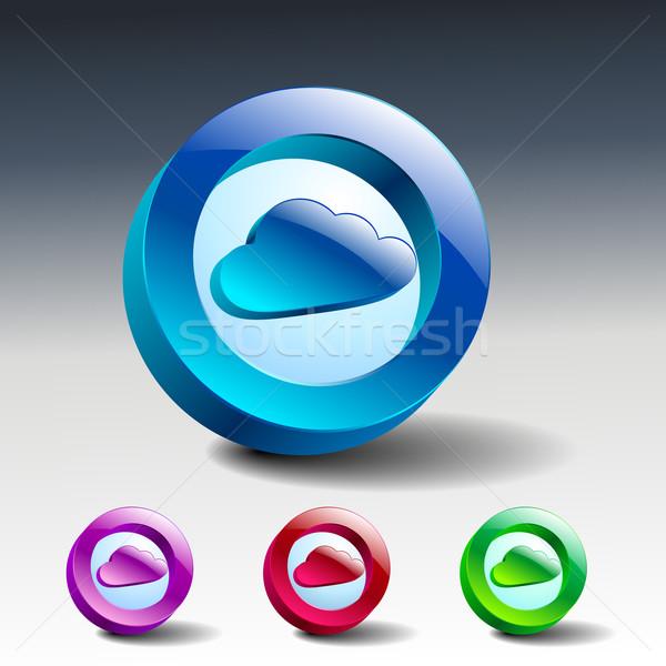 Chmura symbol ilustracja ikona wektora podpisania Zdjęcia stock © mOleks
