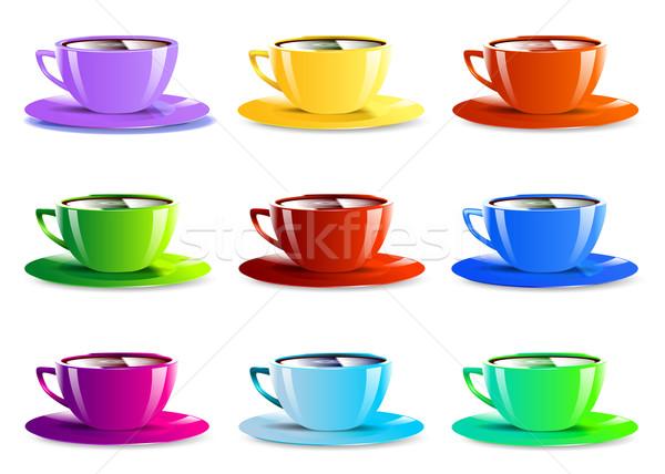 Verschillend kleur papier iconen geïsoleerd Stockfoto © mOleks