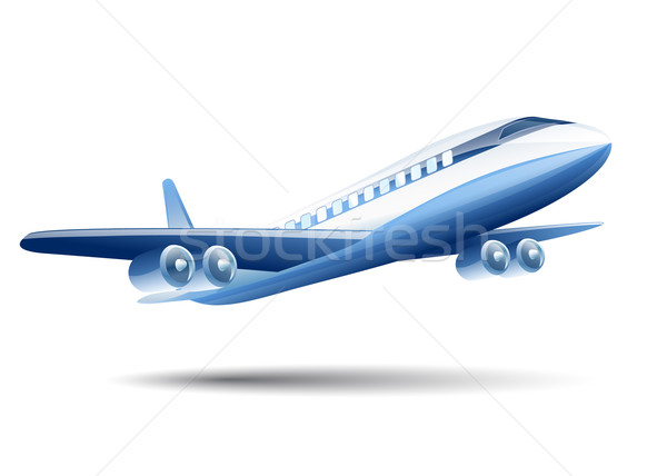 blue airplane on a white background Stock photo © mOleks