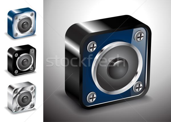 Botão ícones vetor 3D voz soar Foto stock © mOleks