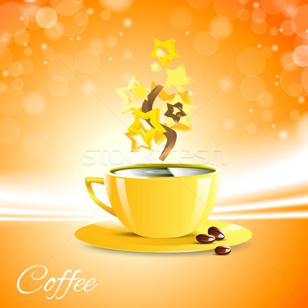 Kahve sabah iyi sarı fincan kahve arka plan Stok fotoğraf © mOleks