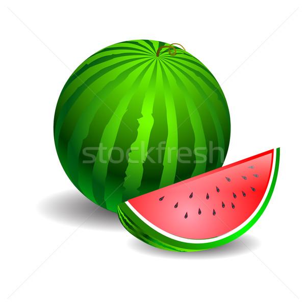 Watermeloen groene witte stuk gesneden computer Stockfoto © mOleks
