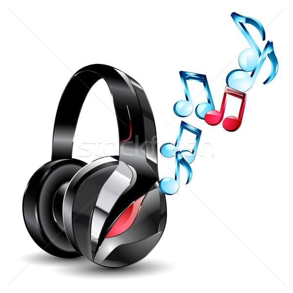 Modern büyük kulaklık notlar yalıtılmış müzik Stok fotoğraf © mOleks