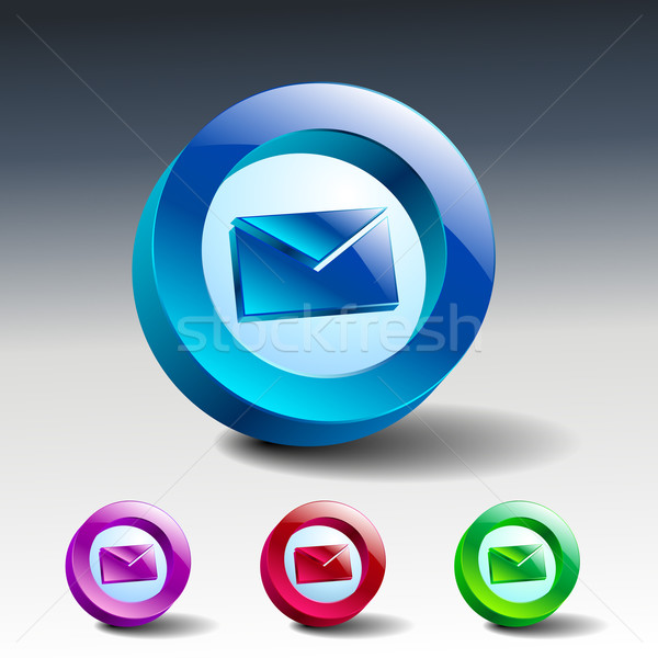 Glas groene messaging e-mail knop Stockfoto © mOleks