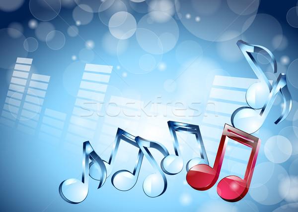 3D müzik notaları parlak mavi müzik kelebek Stok fotoğraf © mOleks
