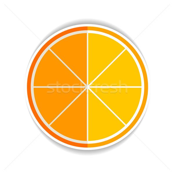 Illustratie citroen oranje vruchten icon Geel rijp Stockfoto © mOleks