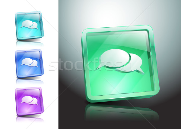 glass icons set green messaging talk Stock photo © mOleks