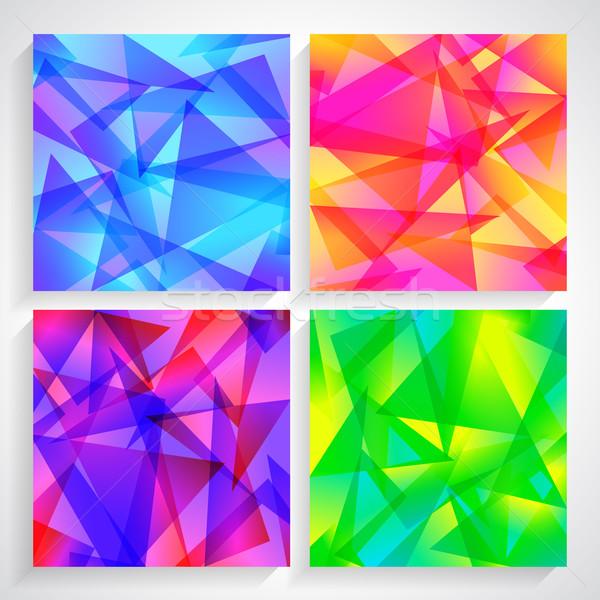 Fractal abstract ingesteld vier achtergronden verschillend Stockfoto © mOleks