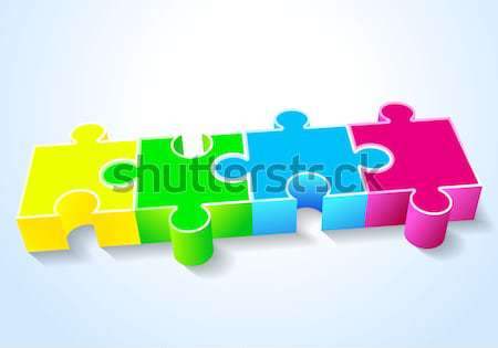 four puzzle yellow green blue red lie on a white background Stock photo © mOleks