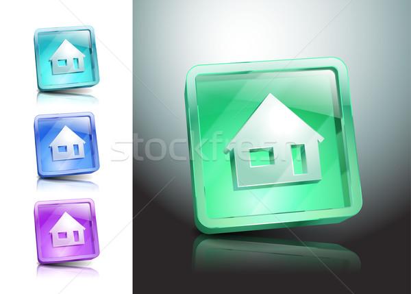 Ayarlamak cam simgeler ev renk ev Stok fotoğraf © mOleks