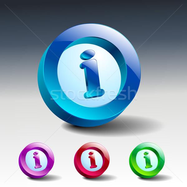 Info icon glanzend Blauw knop symbool Stockfoto © mOleks