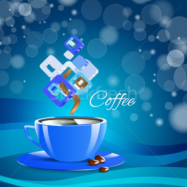 cream coffee blue cup cappuccino drink Stock photo © mOleks
