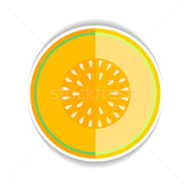 Vector icon Ripe yellow melon and a piece just  Stock photo © mOleks