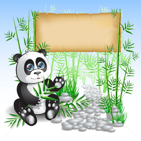 Stockfoto: Panda · bamboe · vergadering · tak