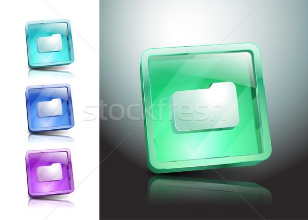 Klasör dosya ikon simge vektör bilgisayar Stok fotoğraf © mOleks