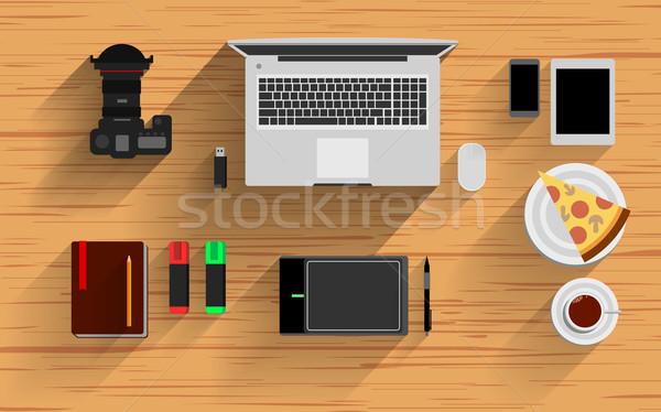 Bureau vector video notebook top icon Stockfoto © mOleks