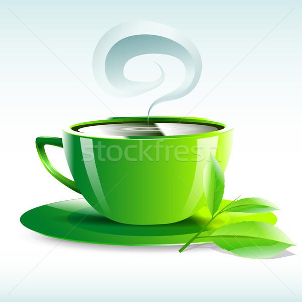 Geel beker hot thee graan illustratie Stockfoto © mOleks