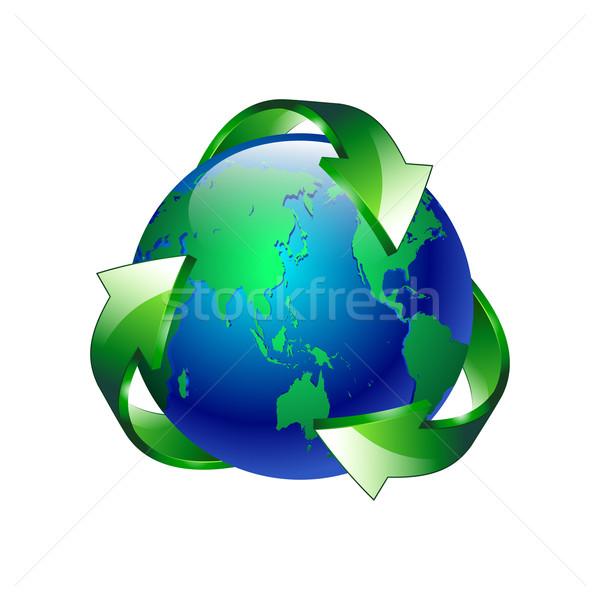 Geïsoleerd schone groene Blauw planeet recycleren Stockfoto © mOleks