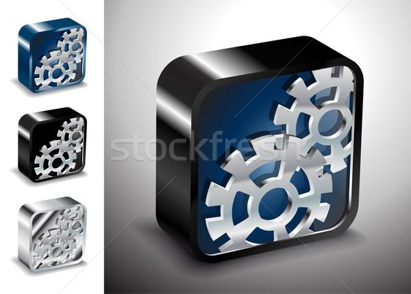 Düğme simgeler vektör dişli seçenek 3D Stok fotoğraf © mOleks