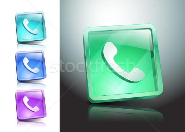 Vidrio iconos verde hablar teléfono teléfono Foto stock © mOleks