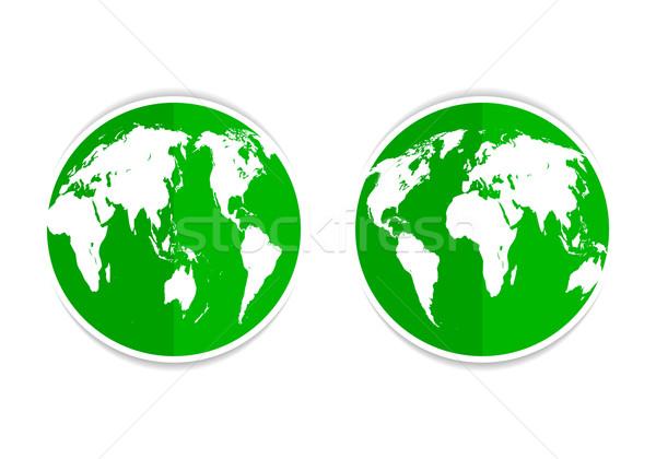 Aarde groene icon knop aarde beide Stockfoto © mOleks