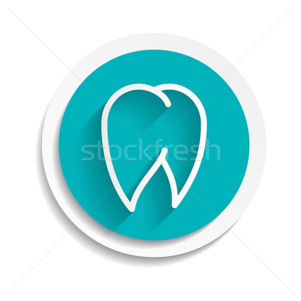 Tooth Icon  vector white dental illustration Stock photo © mOleks