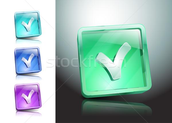 Vektör ikon evet kontrol cam yeşil Stok fotoğraf © mOleks