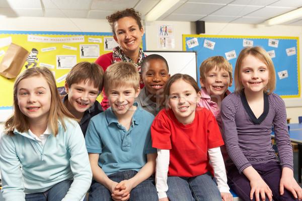 Schoolchildren In classroom with teacher Stock photo © monkey_business