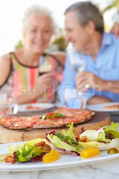 Stock fotó: Idős · pár · élvezi · étel · szabadtér · étterem · bor