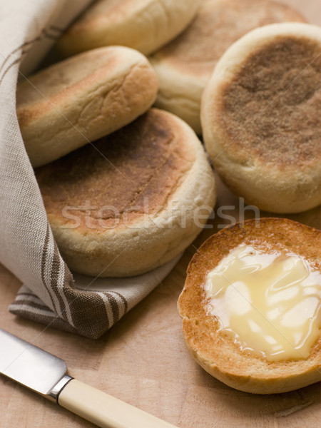 Tostato english muffins burro coltello colazione Foto d'archivio © monkey_business