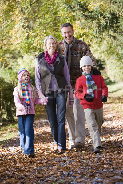 Grands-parents petits enfants marche automne bois enfants Photo stock © monkey_business