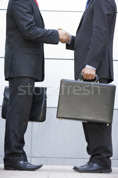 Two businessmen holding briefcases outdoors shaking hands Stock photo © monkey_business