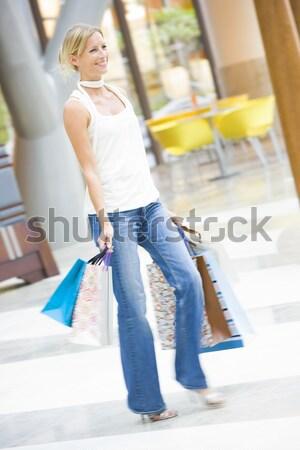 Stockfoto: Jonge · vrouw · zakken · gelukkig · winkelen