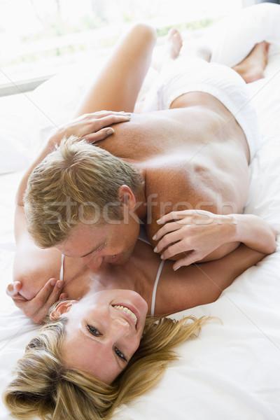 Stock foto: Paar · Bett · Mann · Frauen · zusammen