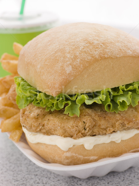 Southern Fried Chicken Fillet Burger With Fries And A Soft Drink Stock photo © monkey_business